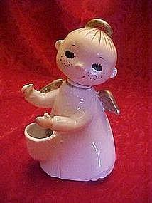 Vintage freckled angel vase with big black eyes