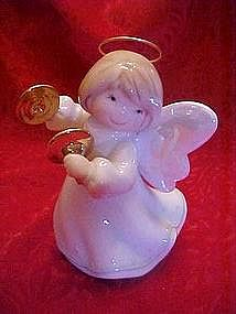 Angel figurine playing musical instrument, wire halo