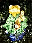 Large Majolica frog playing a mandolin