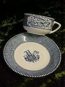 Currier and Ives, cup and saucer