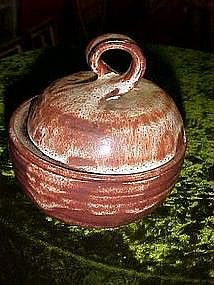 Pottery cache pot with lid, brown drip soft glaze