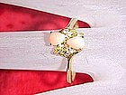 Gold filled costume ring, pink stones