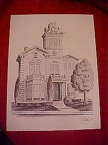 Big Victorian home, print  by Dathe 1973