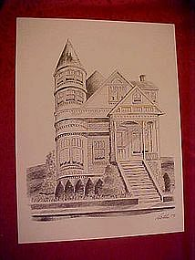 Victorian house with tall turret, print by Dathe 1973