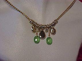 Vintage Monet peridot green ,& opaline necklace