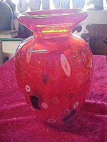 Orange art glass vase with milliflori, probably Murano