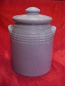 Gibson periwinkle blue cookie jar, crock shape