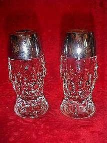 Heavy clear glass shakers, georgian pattern