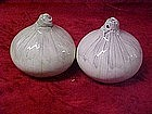 Pair of onion salt and pepper shakers