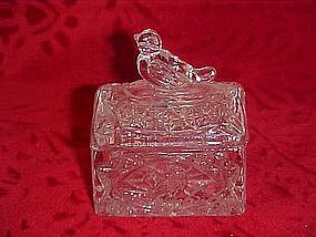 Crystal, bird on a trunk, pressed pattern  salt dip