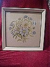 Vintage hand colored Empire flowers, framed print
