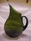 Blenko flat sided pitcher, design 967 in olive green