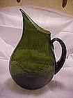 Blenko flat sided pitcher, design 967 in olive green
