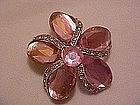 Pink flower pin, pink rhinestones