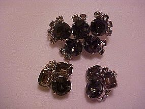 Three piece smoky rhinestone pin and earrings set