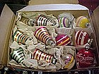 Vintage box of Christmas ornaments, balls and bells