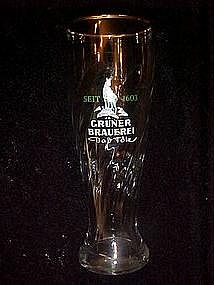 Gruner Brauerei, tall crystal beer glass, Germany