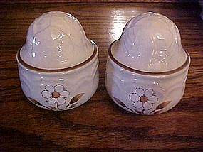 Large stoneware shakers,cabbage, daisy design