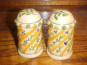 Hand painted pottery  salt and pepper shakers