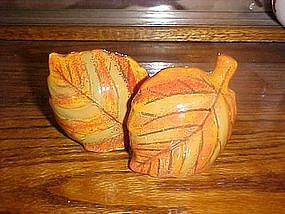 Autumn leaves,  ceramic salt and pepper shakers