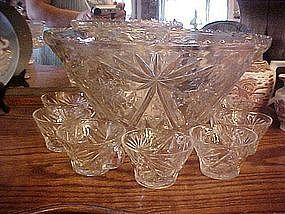EAPC Early American Press Cut punch bowl w/ 7 cups