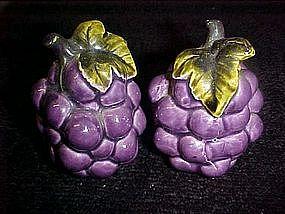 Vintage  ceramic grapes,  salt and pepper shakers
