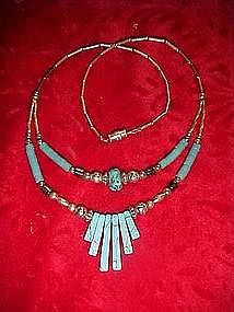 Retro 70's turquoise and silver necklace