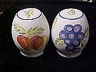 Hand painted grapes and peaches, salt and pepper