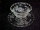 Fostoria mayonaise bowl and underplate, Camellia