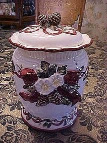Pretty Holiday cookie jar with ribbons and pinecones