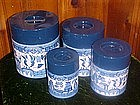 Vintage Blue willow metal cannister set