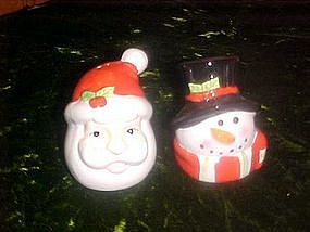 Santa and snowman head, salt and pepper shakers