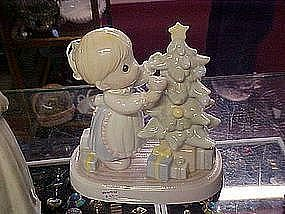 Precious Moments porcelain Christmas lamp / light