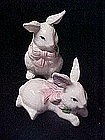 Pair of spring bunny rabbit figurines