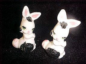 Older ceramic spotted bunny rabbit figurines