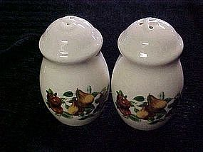 Stoneware shakers with fruit harvest design
