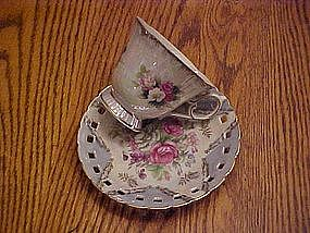 Lacy edge blue lustre tea cup and saucer set with roses