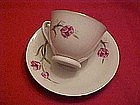 China cup and saucer with pink tulip design