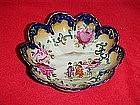 Geisha girl bowls, roses & cobalt trim