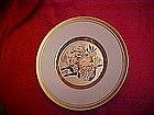 Chokin porcelain plate, Flower cart engraving