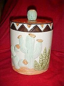 Southwestern desert cactus cookie jar
