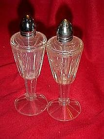 Retro cut glass look, plastic salt and pepper shakers
