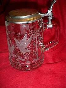 ALWE Crystal beer stein with ducks engraving
