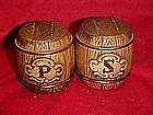Vintage ceramic barrels, salt and pepper shakers