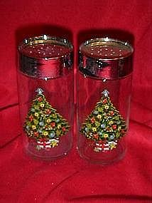 Large glass salt and pepper shakers with Christmas tree