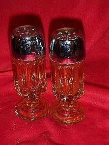 Gold glass pedestal salt and pepper shakers