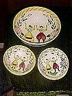Happy folk, hand painted Quimper look, salad set