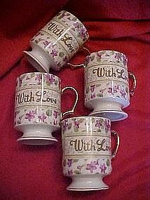 "Chintz violet coffee mugs set, ""With Love"" gold trim"