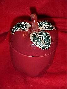 Ceramic apple jar, with sponge leaves
