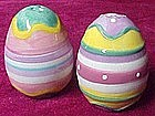 Colorful Easter eggs, salt and pepper shakers